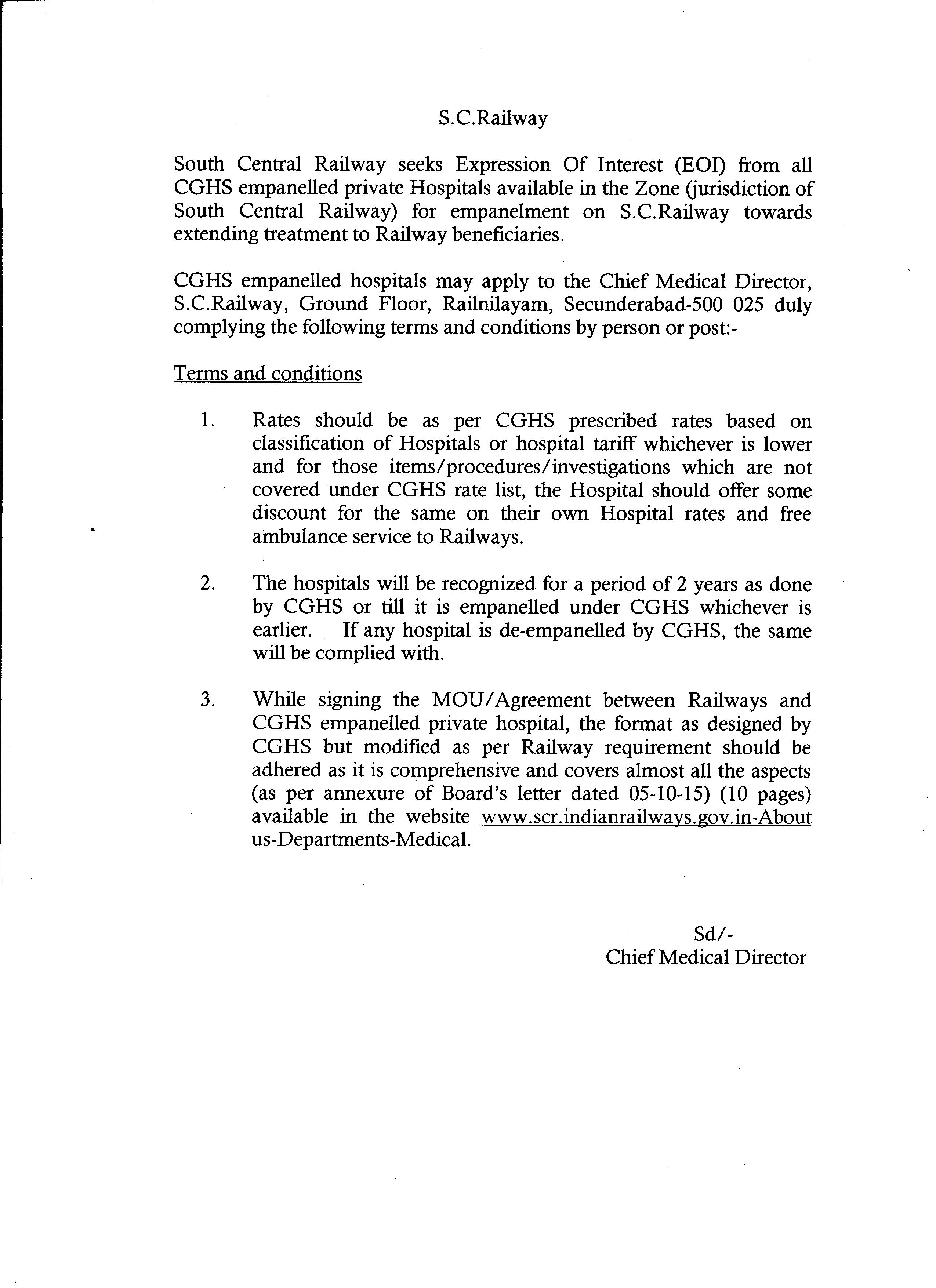 South central railway annexure to notice on eoi empanelment of private hospitals agreement terms and conditions 1betcityfo Gallery