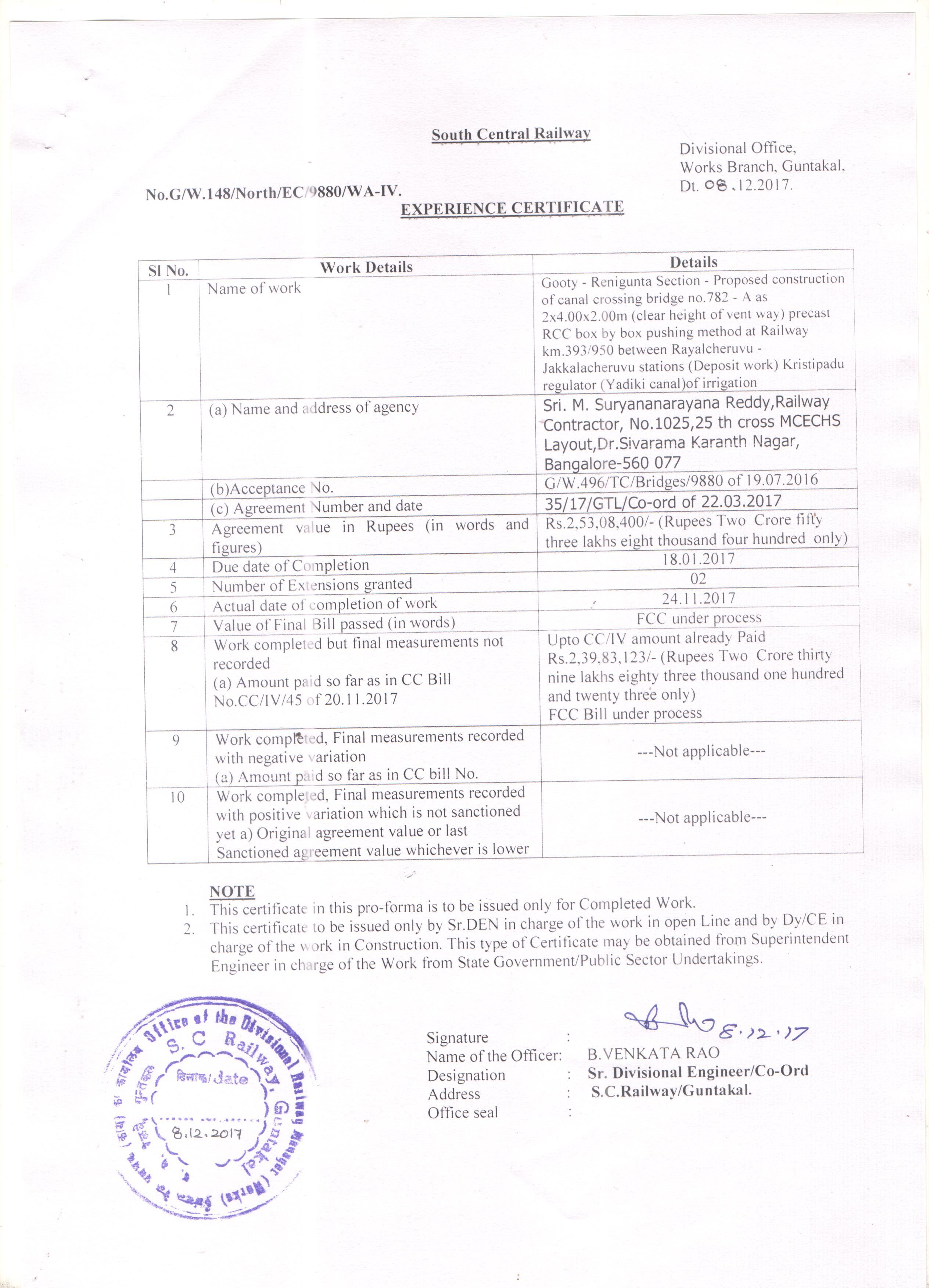Scrdetails of experience certificate issued no782 a as 2x400x200m clear height of vent way precast rcc box by box pushing method at railway km393950 between rayalcheruvu jakkalacheruvu xflitez Choice Image