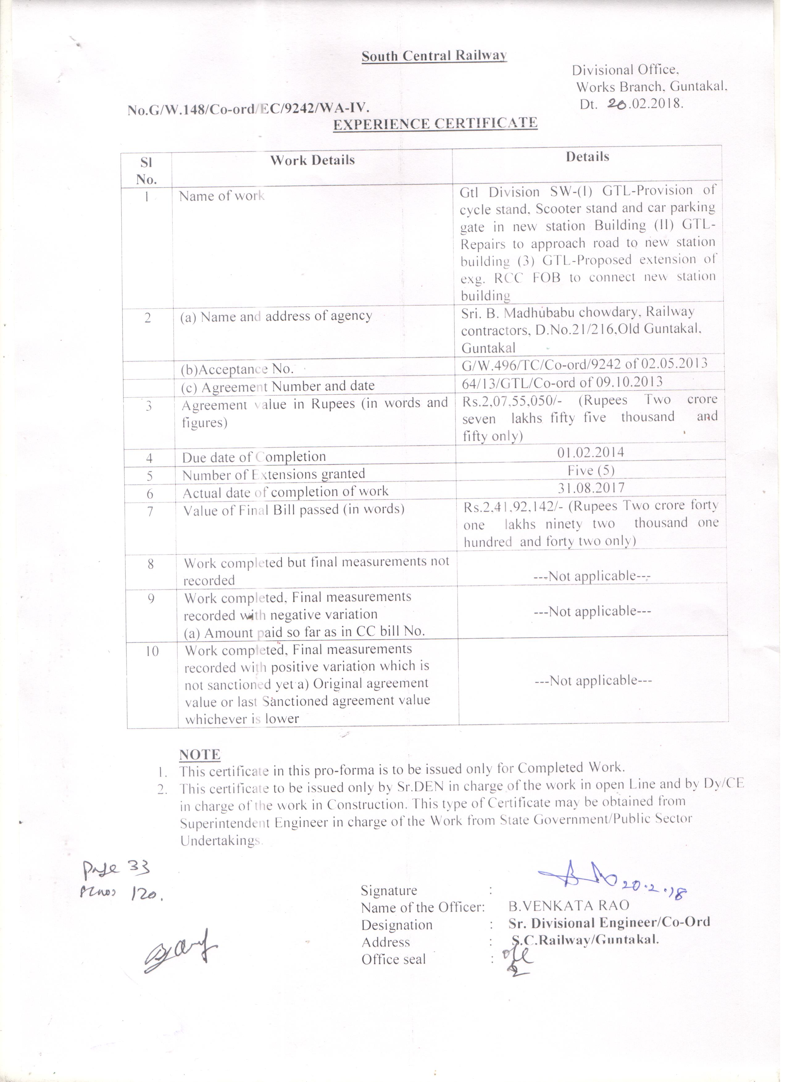 Scrdetails of experience certificate issued rcc fob to connect new station building download yelopaper Gallery