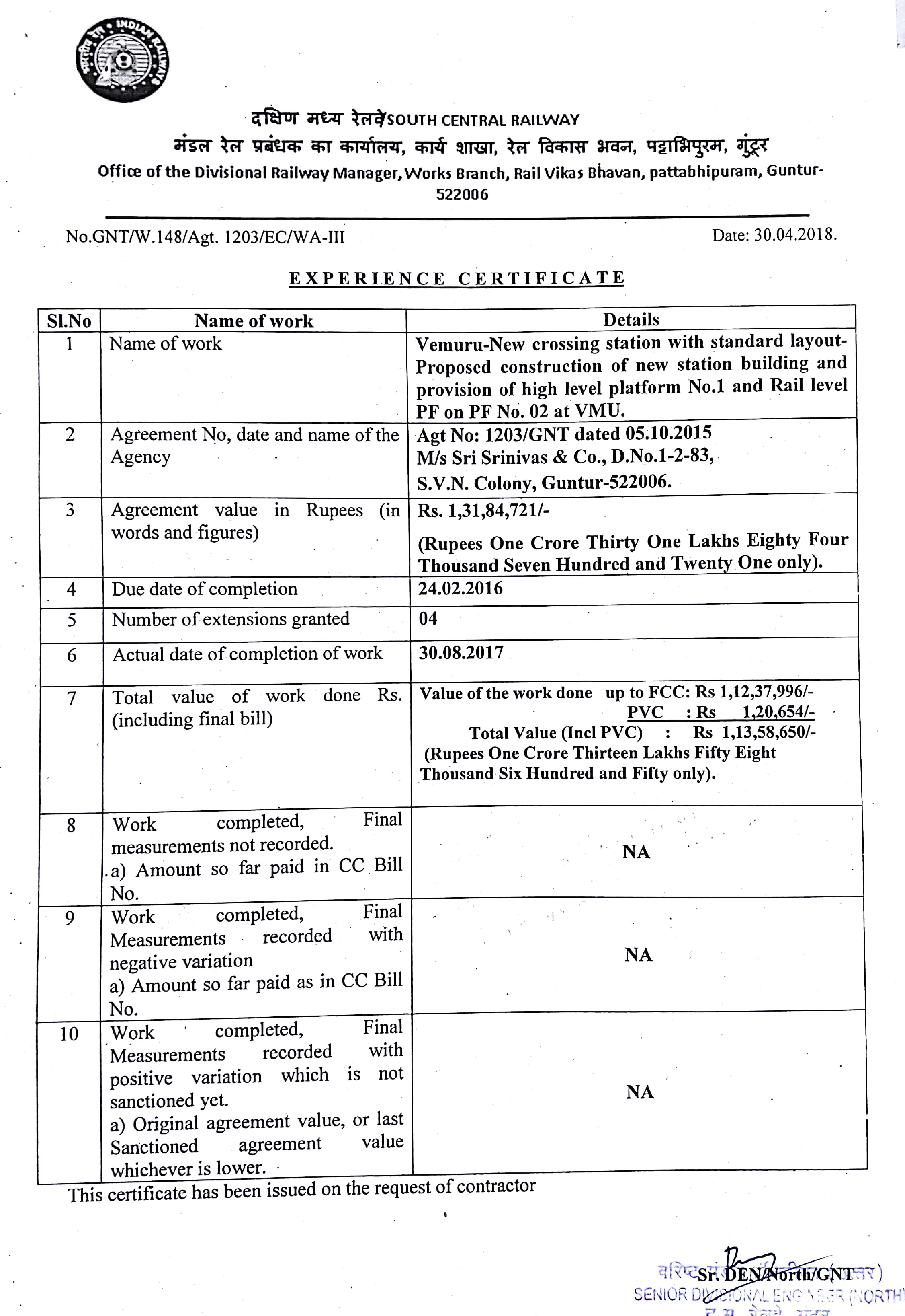 SCR::Details of Experience Certificate issued